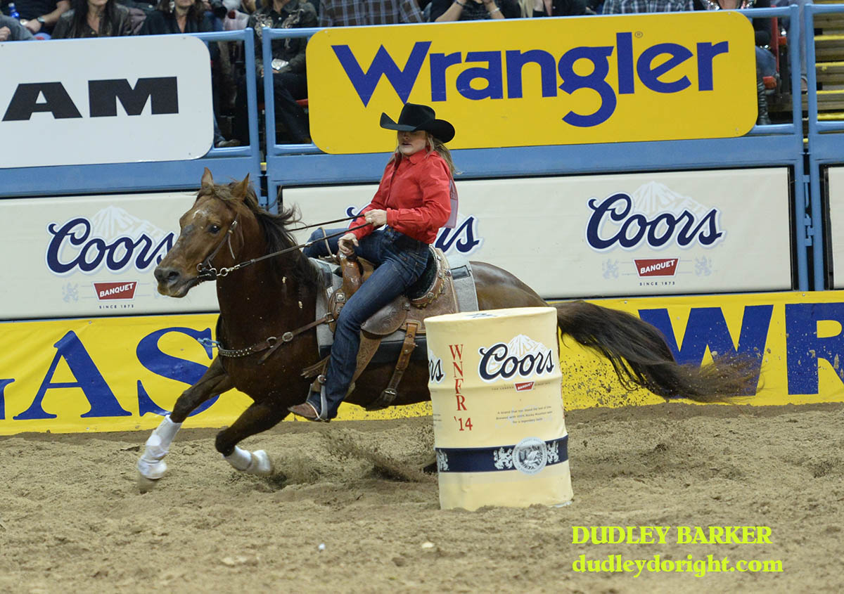 Carlee Pierce finished sixth Friday and is fourth in the average in the barrel race at the WNFR. || Photo by DUDLEY BARKER, dudleydoright.com