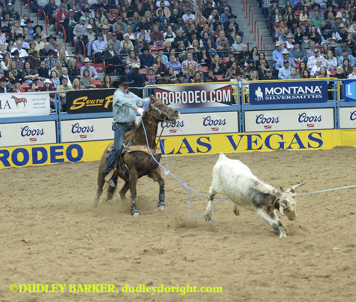 Cory Petska, round three, 2014 WNFR, Dec. 6, 2014 || Photo by DUDLEY BARKER, dudleydoright.com