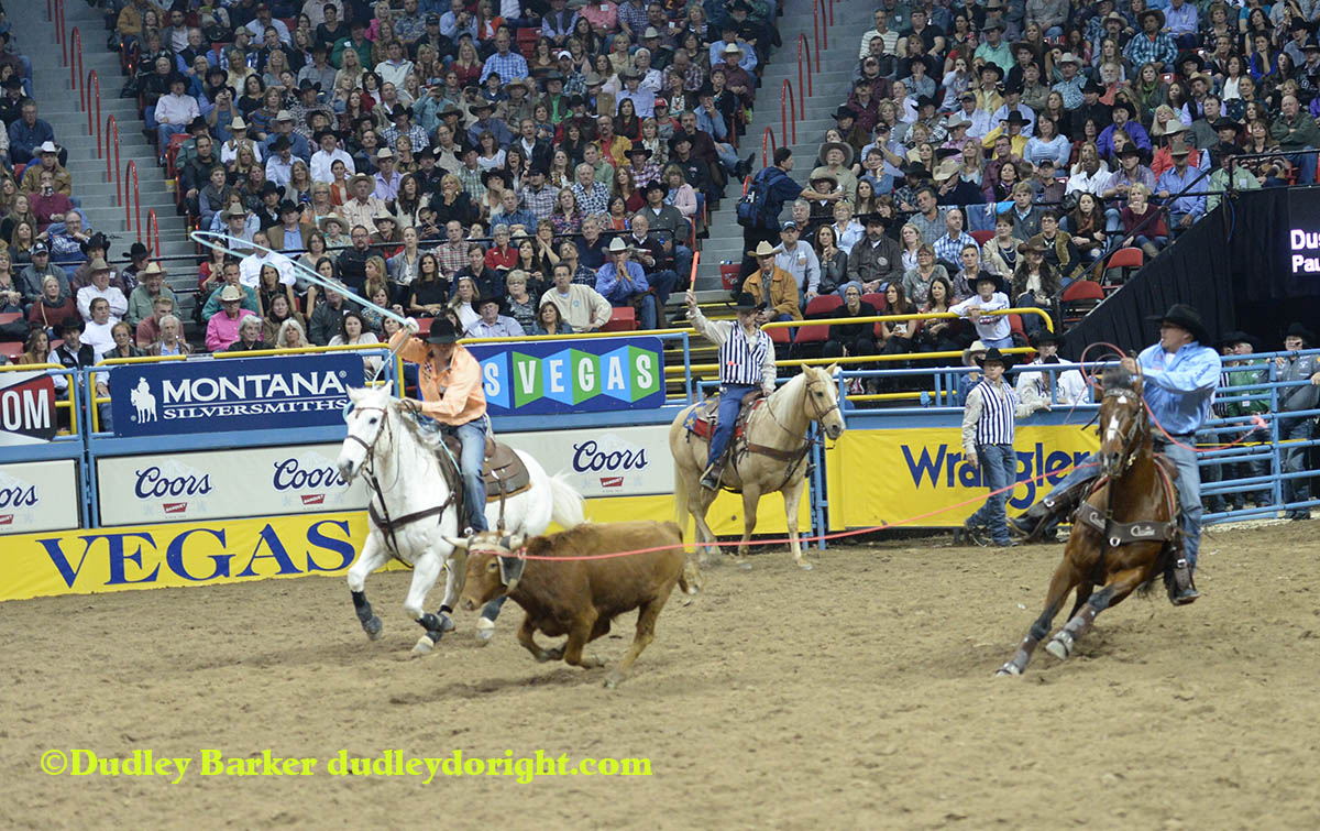 Dustin Bird in round two of the 2014 WNFR.