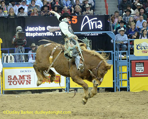 Jacobs Crawley during the 2014 National Finals Rodeo || Courtesy Dudley Barker, dudleydoright.com