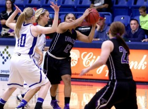 Tarleton senior guard Kathy Thomas scored 42 points on 17-27 shooting in two games over the weekend and has been named Lone Star Conference Offensive Player of the Week.    Photo courtesy NATHAN BURAL/Tarleton