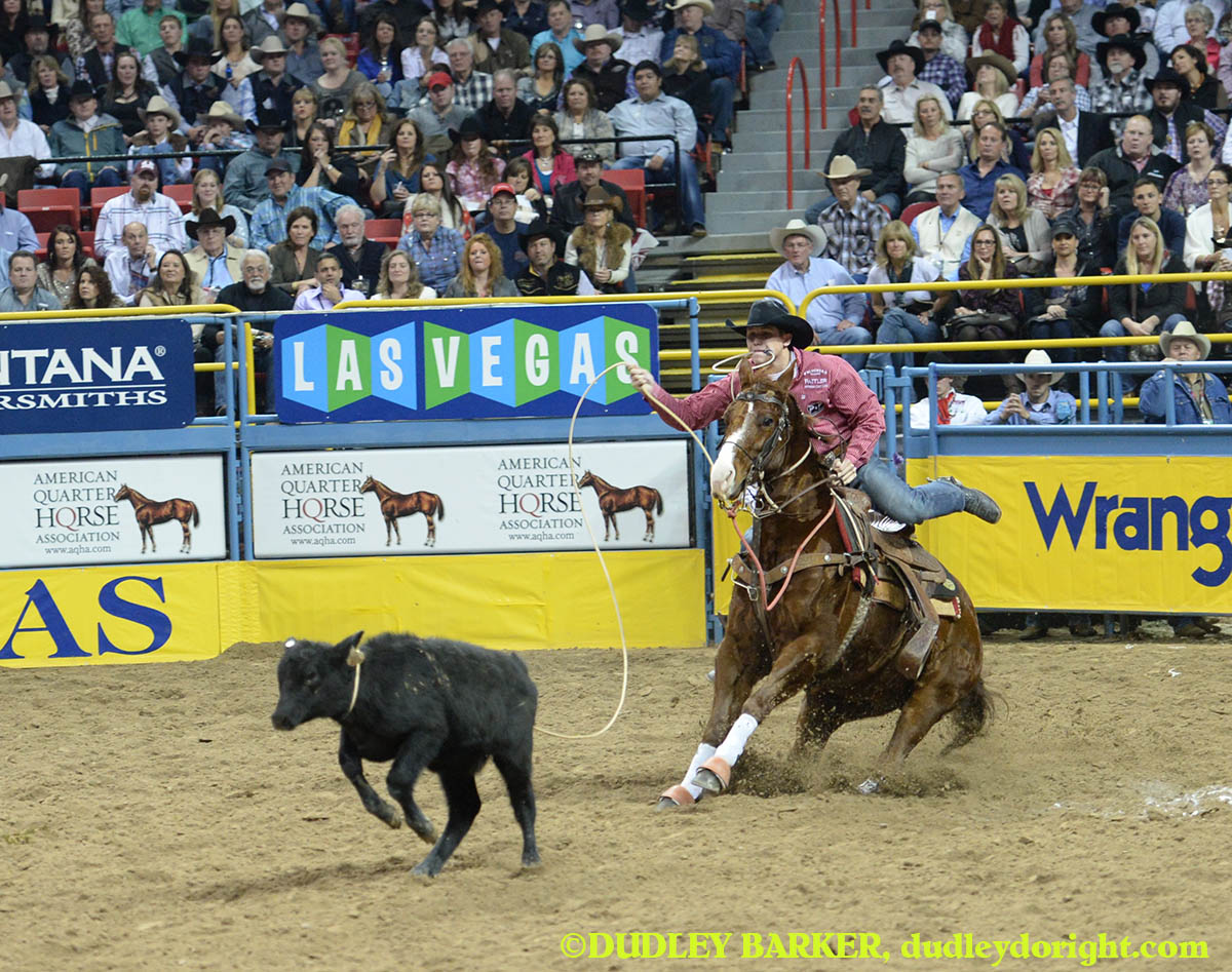 Marty Yates has won two of four rounds and more than $41,000 so far in his first Wrangler National Finals Rodeo. || Photo by DUDLEY BARKER