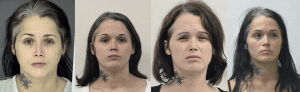 Paula Michelle Davis has a gallery's worth of jail mug shots after being booked for at least the fourth time in at least three states Wednesday. || Photos collected by InTheJailhouse.com