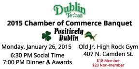 """These are the tickets for the Dublin Chamber of Commerce """"Positively Dublin' banquet on January 26."""
