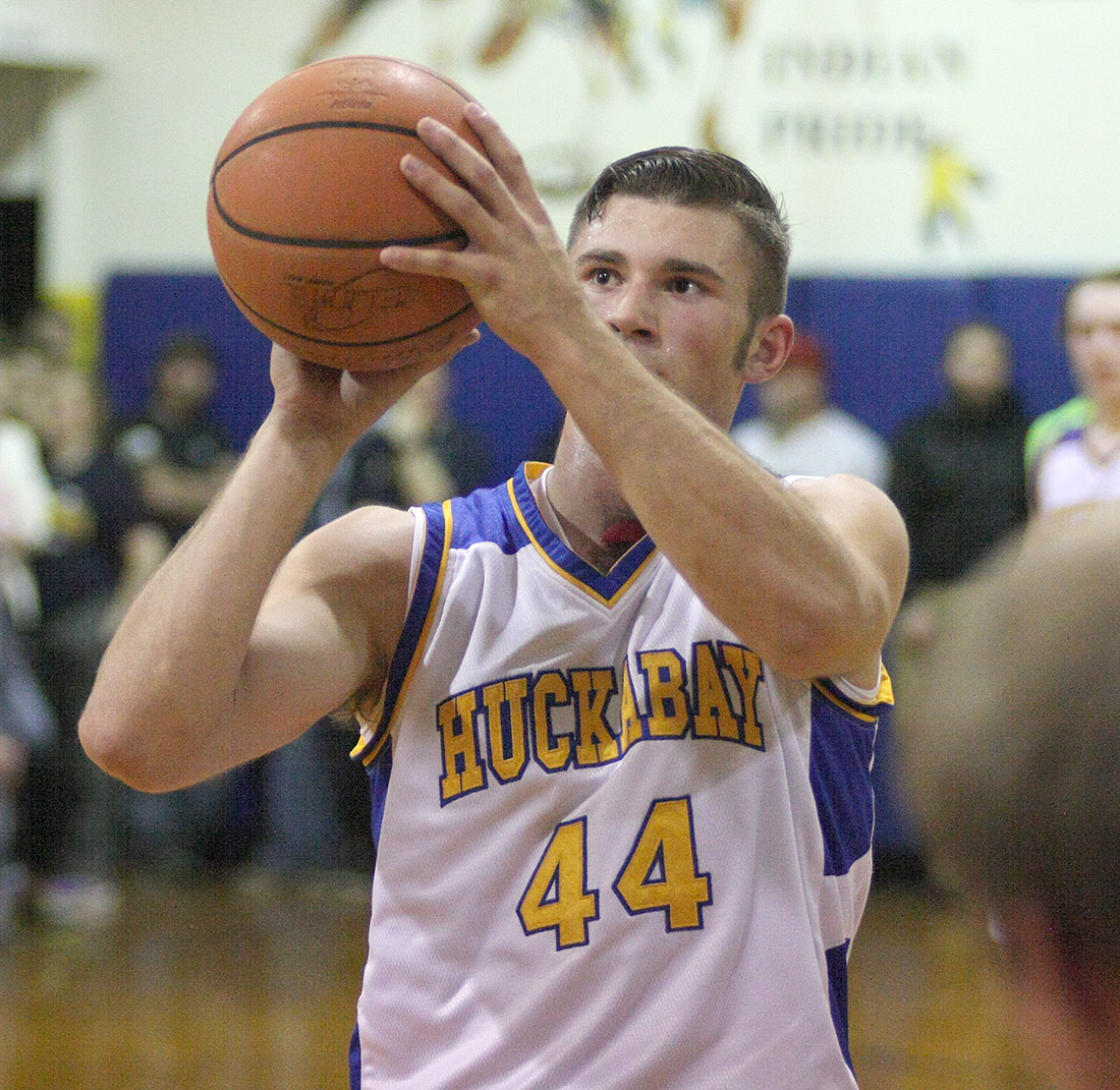 Levi Dowell attempts a free throw for Huckabay in Friday's loss to rival Lingleville at HHS.    Photo by BRAD KEITH