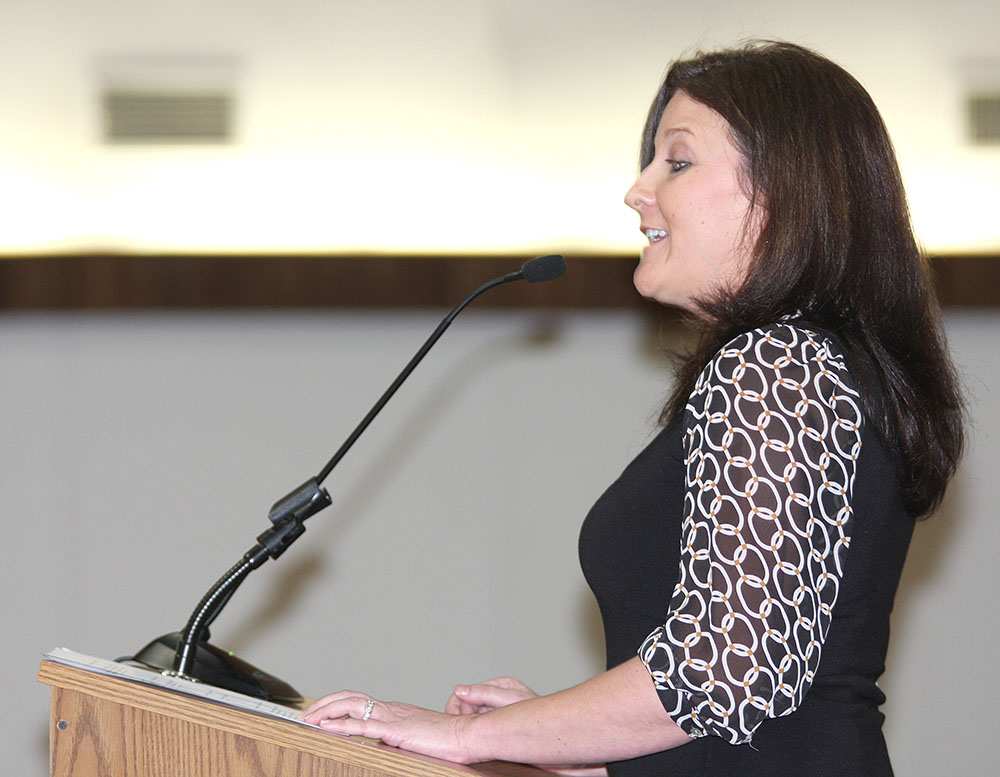 Hook Elementary Principal Stephanie Atchley was among the campus leaders who addressed board members regarding strategic goals.