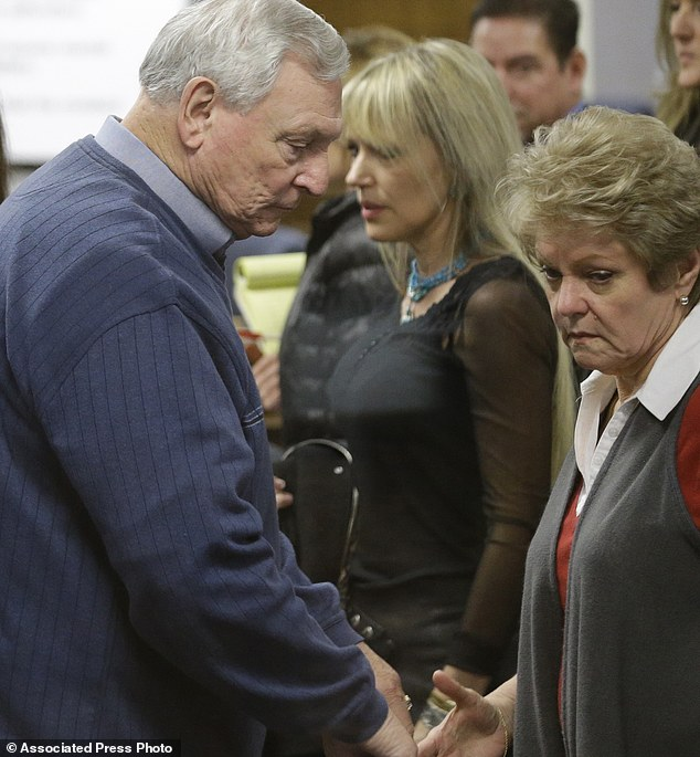 Don and Judy Littlefield, parents of Chad Littelfield, begin to walk out of the courtroom after a break in the capital murder trial of Eddie Ray Routh at the Erath County, Donald R. Jones Justice Center.  Routh, 27, of Lancaster, has been found guilty in the deaths of Littlefield and Navy SEAL Chris Kyle at a shooting range near Glen Rose. || AP Photo/LM Otero,Pool