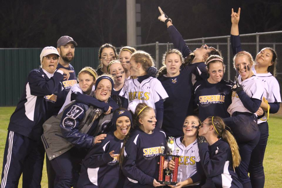 The Stephenville Honeybees enjoy a fun pic following their second-place finish in last weekend's Eastland tournament.    Contributed