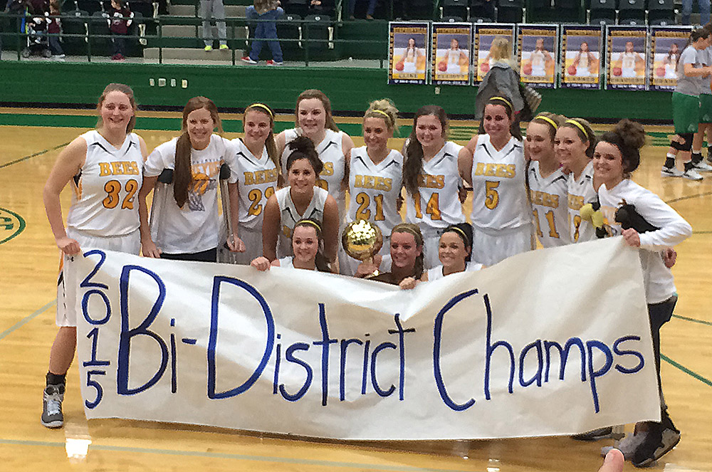 Stephenville celebrates its sixth straight bi-district playoff win, a wild 57-56 affair with Vernon at Breckenridge High School Tuesday. || Photo by BRAD KEITH