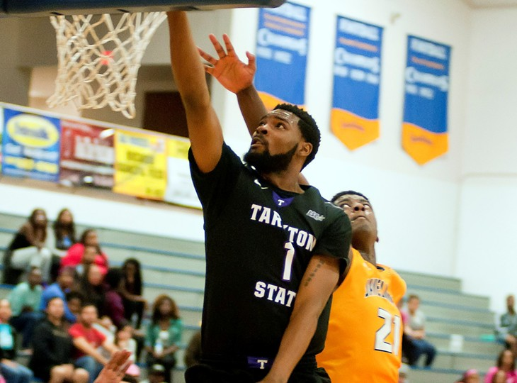 Malcolm Hamilton attacks the rim for two of his 14 points at McMurry Wednesday. || Photo courtesy NATHAN BURAL/Tarleton