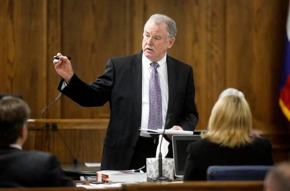 Court appointed defense attorney J. Warren St. John delivers his opening statements during the former Marine Cpl. Eddie Ray Routh capital murder trial at the Erath County Donald R. Jones Justice Center in Stephenville, Wednesday, February 11, 2015. Eddie Ray Routh, 27, of Lancaster is charged with the 2013 deaths of former Navy SEAL Chris Kyle and his friend Chad Littlefield at a shooting range near Glen Rose. || Tom Fox Pool photo/Dallas Morning News