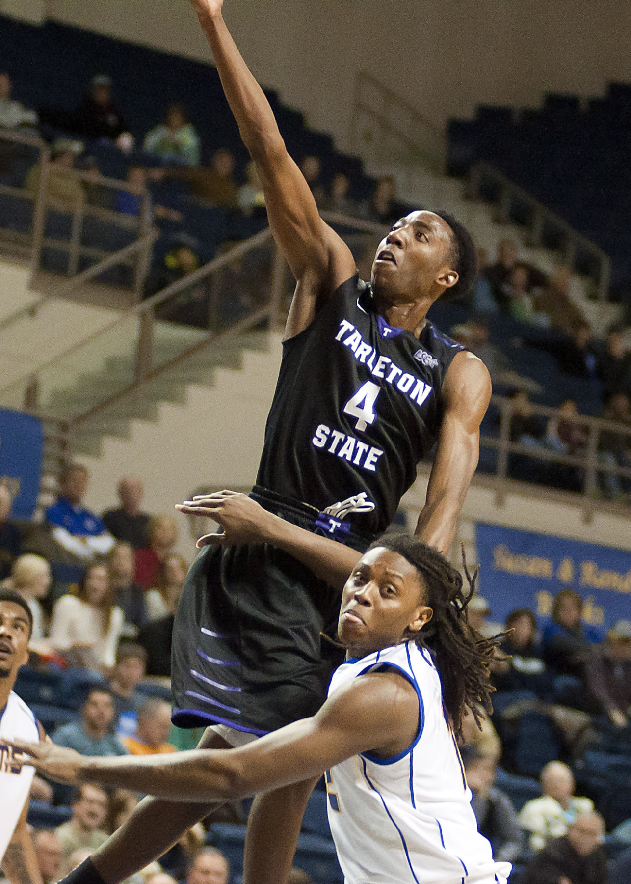 Nosa Ebomwonyi goes up for two in a Lone Star Conference game.    Photo courtesy NATHAN BURAL/Tarleton