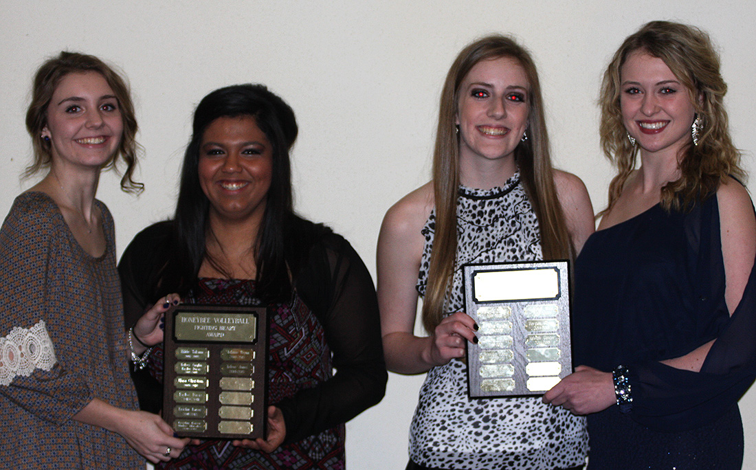 Volleyball recognition went to (left to right) Kelcee Jones, Stefani Reyna, Kaleigh Conger and Morgan Gibson at Monday's fall sports banquet. || Photo by BRAD KEITH