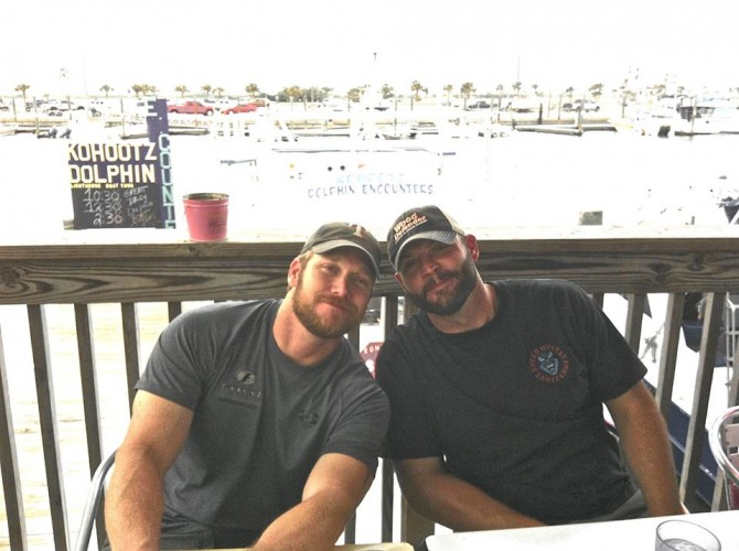 Chris Kyle and Chad Littlefield on a family vacation in 2012.