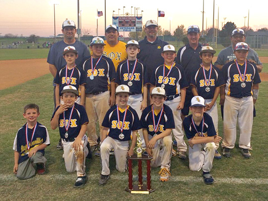 Members of the 10U Sox are (coaches in back, left to right) Jason Brinson, Jimmy Morin, Keith Philips, Shawn Dill, Ro Lopez, (middle) Connor Fails, Ethan Morin, Hayden Keith, Kyler Eudy, Miguel Martinez, Trey Lopez (front) Brice Brinson, Nate Barry, Kyler Philips and Wacey Dill. Photo contributed