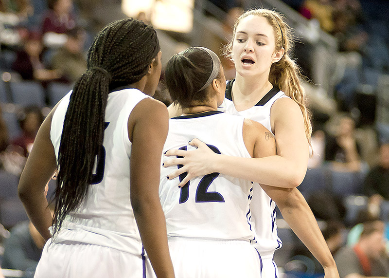 Seniors Karli Moore, right, hugs classmate Kathy Thomas during Tarleton State's conference tournament loss to Texas Woman's at Allen Event Center Thursday evening. Tarleton is now on the bubble and will learn Sunday night if they advance to the NCAA Division II playoffs.    Photo courtesy NATHAN BURAL/Tarleton
