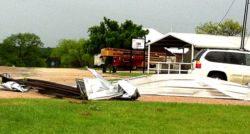 High winds removed a portion of the roof of a dairy barn in western Erath County Friday. || Courtesy KAREN KEITH