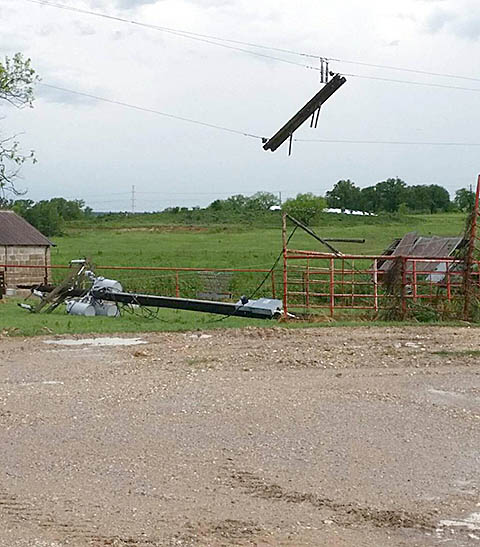 High winds downed this power pole in the Highland community in western Erath County. || Courtesy SUSAN KEITH/Gotcha Photos