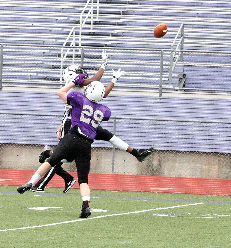 This catch - despite the pass interference - was one of many offensive highlights during Saturday's intrasquad scrimmage at Tarleton.