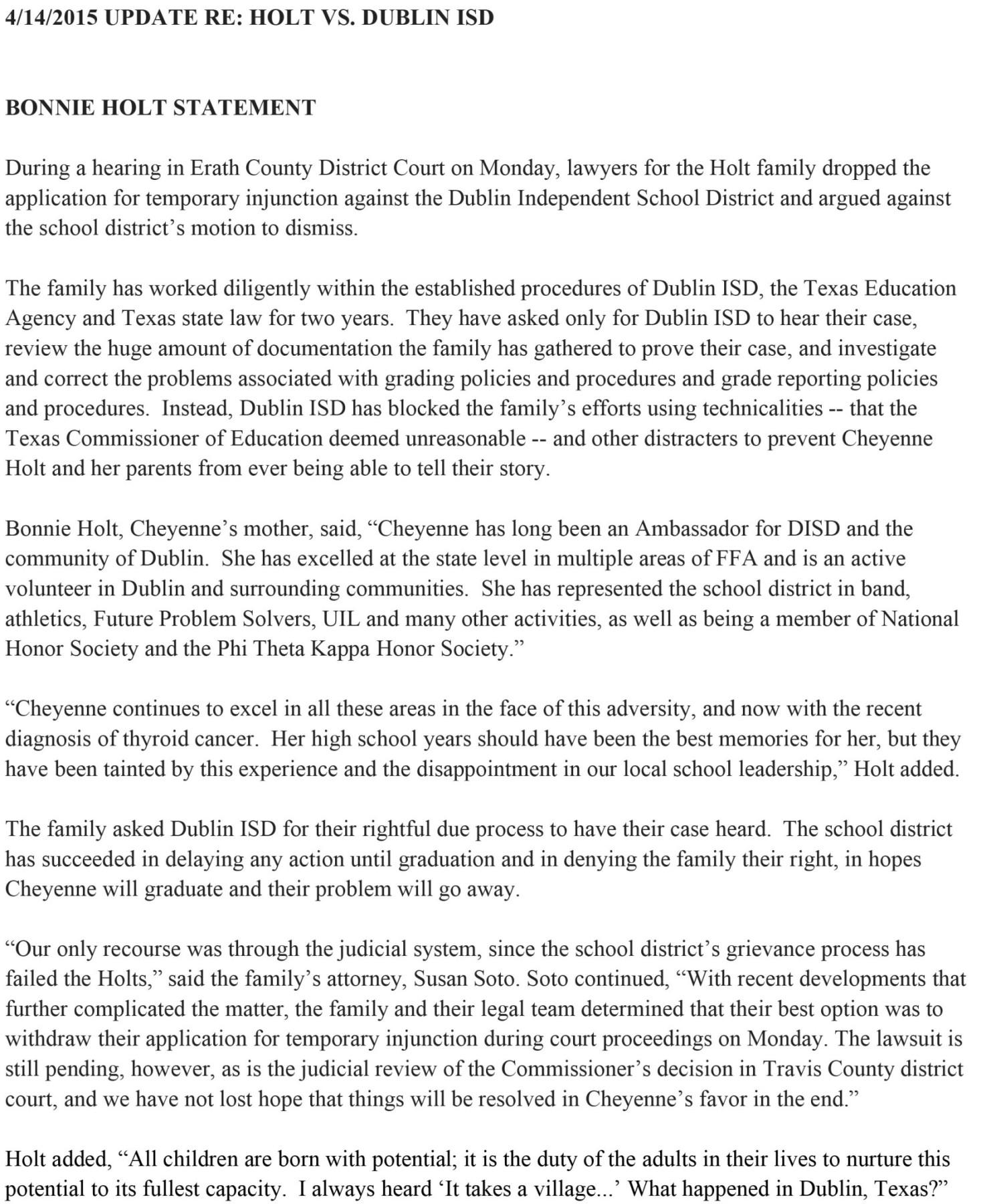 2015.04.14 Holt statement