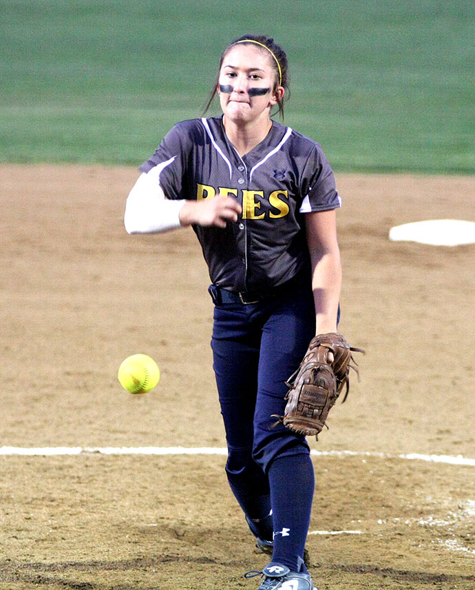 Stephenville freshman Julia Flores pitched 10 strong innings but suffered a 2-1 loss at Graham Saturday night. || BRAD KEITH/TheFlashToday.com
