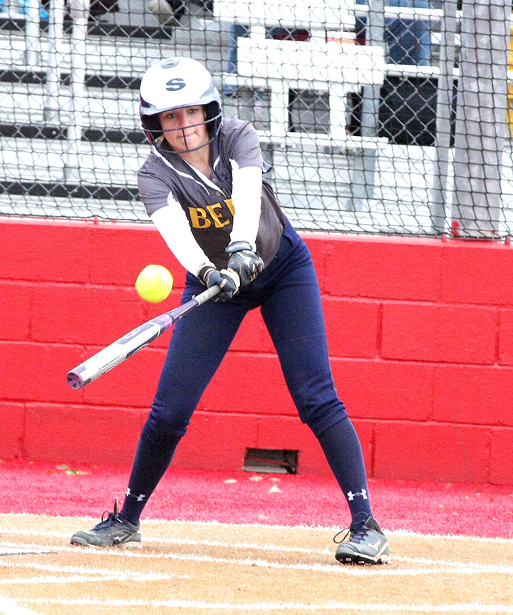 Junior second baseman Kali Smith reaches to make contact at the plate for Stephenville Tuesday. || BRAD KEITH/TheFlashToday.com