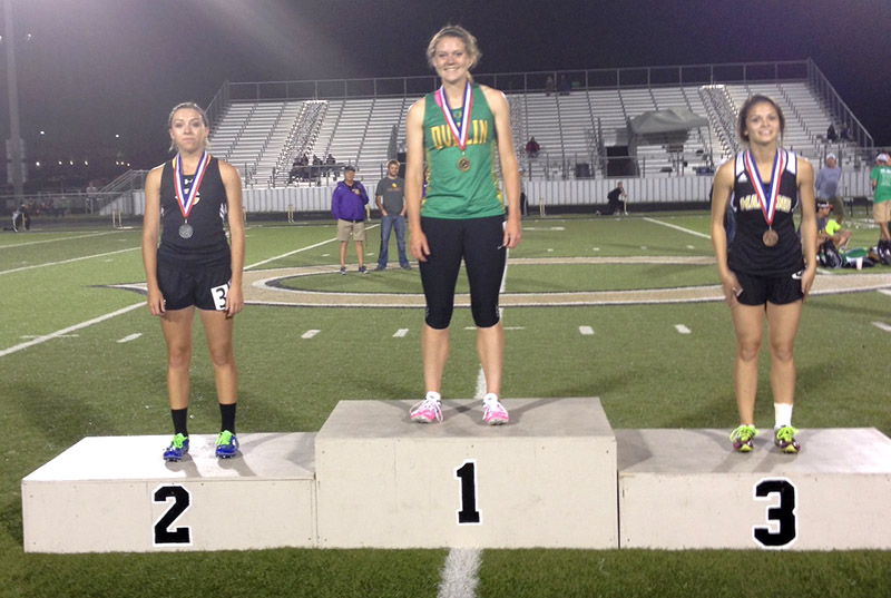 London Jones takes the top spot on the medal stand after winning the girls 400 meter dash at a 3A area meet in Clyde Thursday. || Contributed