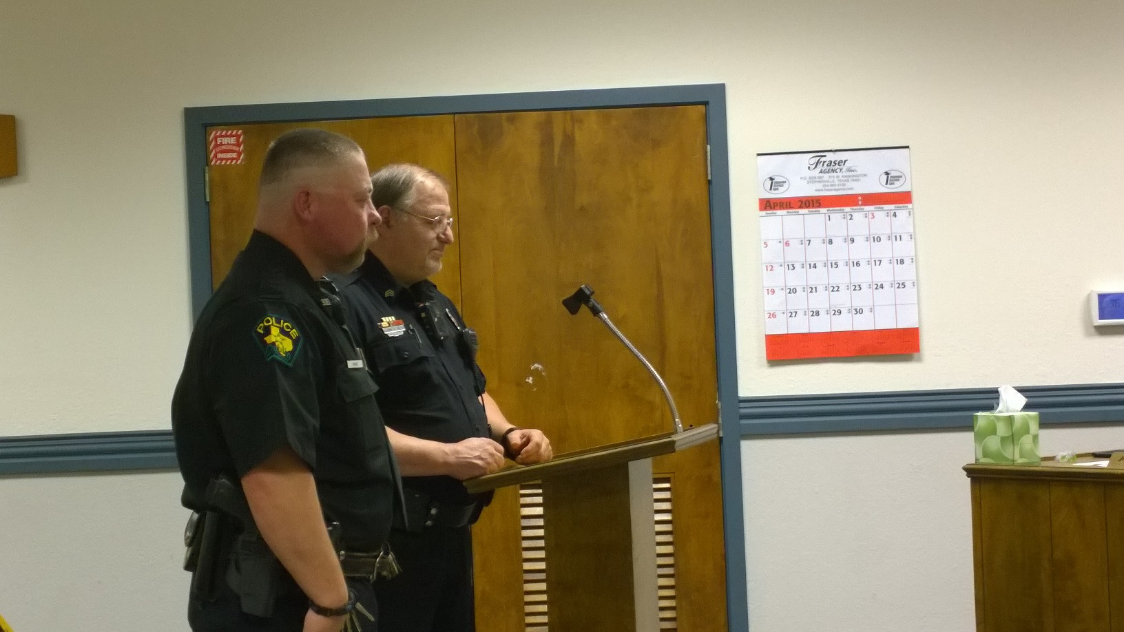 Sgt. Bennie Noel introduces a new officer during Monday night's meeting. Noel has served as interim for several months, however, the council has decided to offer the job to an outside applicant. || JESSIE HORTON photo