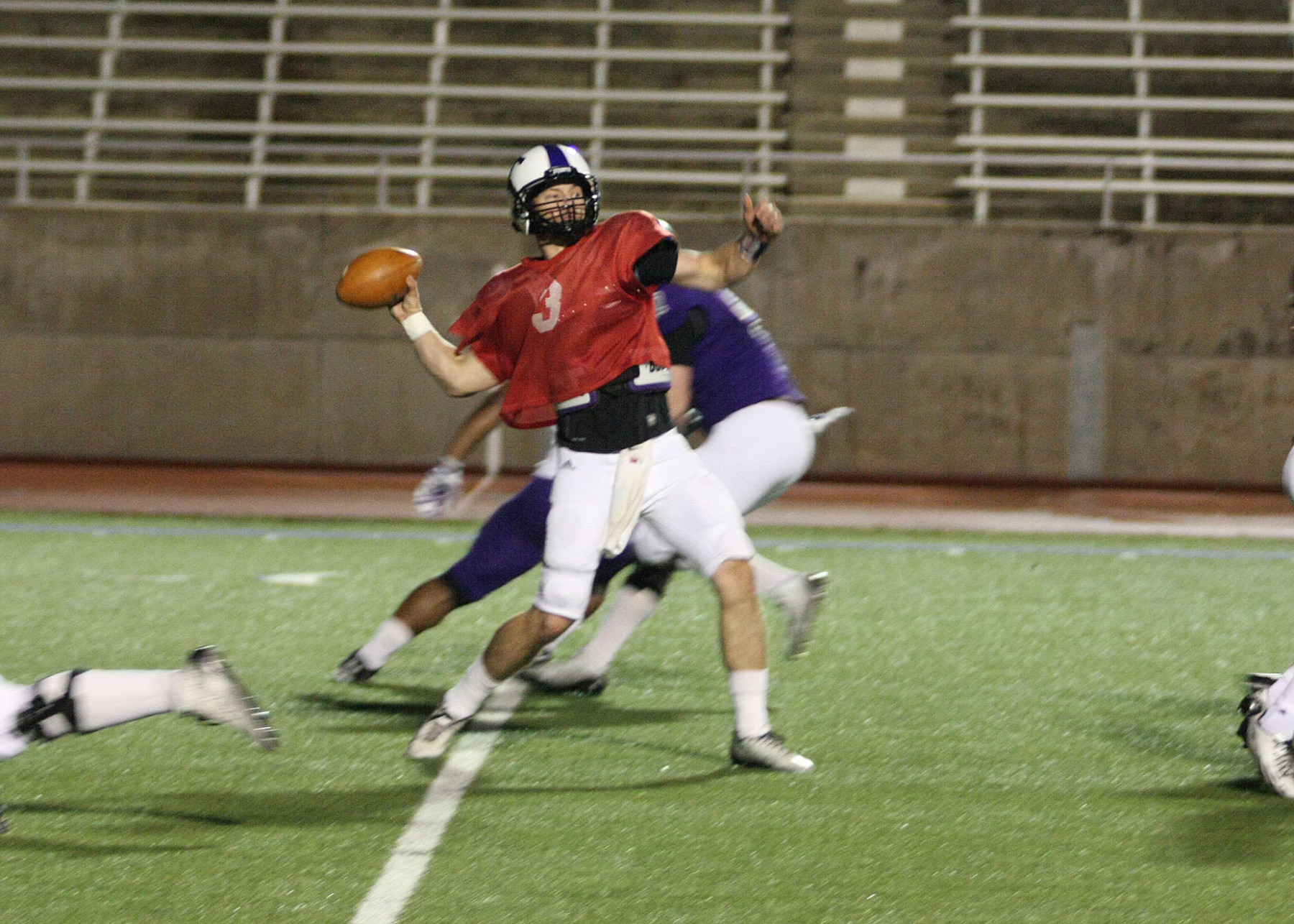 Zed Woerner fires a pass for Purple during Tarleton State's spring football game Saturday night at Memorial Stadium. || BRAD KEITH/TheFlashToday.com