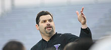 Cary Fowler says an experienced offensive line makes for better sleep as he prepares for his sixth season as head coach at Tarleton State. || BRAD KEITH/TheFlashToday.com