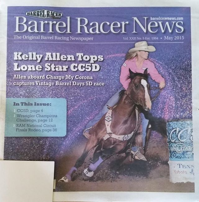 Stephenville cowgirl Kelly Allen won the CC5D aboard Charge My Corona, and the tandem made the cover of the ensuing issue of Barrel Racer News. || Facebook photo
