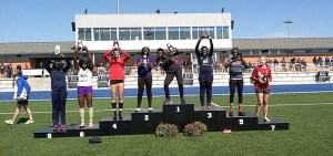 Euphemia Edem takes her spot atop the medal stand as national champion in the women's long jump at the NCAA Division II Track & Field Outdoor Championships in Allendale, Michigan Thursday. || Courtesy photo via Tarleton Athletic Communications