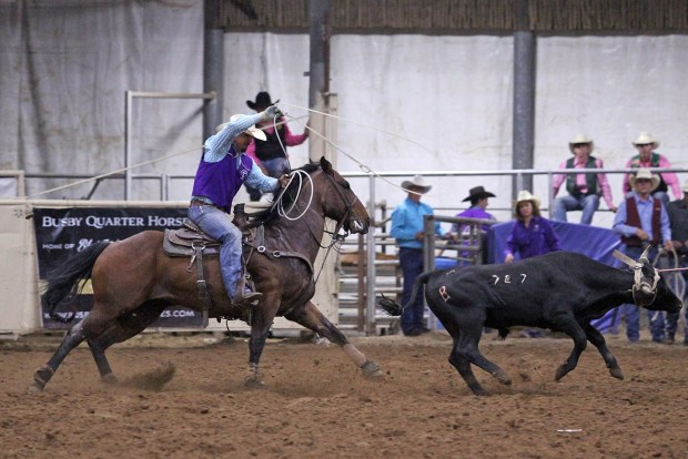 Tarleton State cowboy Landon Williams is in the hunt for tie-down and all-around national titles at the 2015 College National Finals Rodeo. || Courtesy KURT MOGONYE/Tarleton