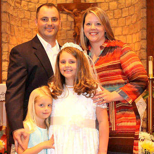 Cheryl Hudson, shown with her wife and daughters, has been promoted from teacher to principal at Lingleville ISD. || Facebook photo