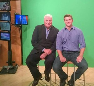 WFAA sports anchor Dale Hansen, left, with Dublin senior Conner Moore, who has been named a Dale Hansen Scholar Athlete of the Week. || Contributed
