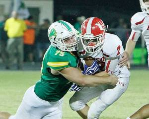 Conner Moore makes a tackle against Hico on Aug. 28 at Dublin's Memorial Stadium. || TheFlashToday.com photo by RUSSELL HUFFMAN