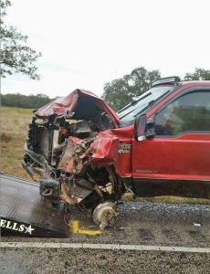 This red Ford was the vehicle that caused the accident that took the life of a Weatherford man on Monday. || Photo by JOHN FORSON