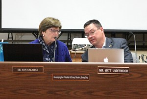 SISD President Dr. Ann Calahan and Superintendent Matt Underwood visit before the meeting began Monday.