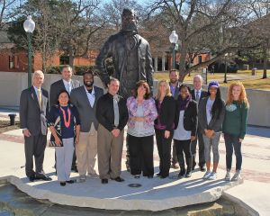 Tarleton State University employees and students gather to present Erath County United Way with more than $7,400 that was collected as part of the annual State Employee Charitable Campaign and a Penny Drive among students residing on campus. Pictured (l-r) are Tarleton President F. Dominic Dottavio, Juana Moncada, Bobby Waddell, Cori Middleton, Dr. Anthony Pursell, Shelly Brown, Dr. Denae Dorris, Ben Kunzel, Jamilla Parris, Dr. David Weissenburger, Brigid Duncan and Brigid Flanagan.