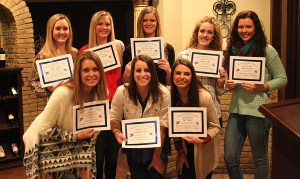 All-district honors went to (back, left to right) Taylor Garber, Kerstin Fredrickson, Kourtney Seaton, Kaleigh Conger, Emily Brandon, Nicona Stilwell, Mikayla Hobbs, Kylee Ponder and Chelsea Gillespie (not pictured).