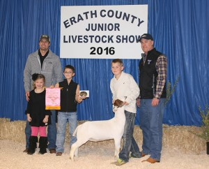 The reserve champion goat, a light medium weight shown by Wyatt Carrell, was purchased by Bruner Motors and F&M Bank for $3,000.