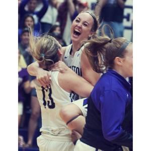 Raven McGrath lifts Morgan Ashmore in celebration of a 53-52 upset of West Texas A&M on senior night for Tarleton State at Wisdom Gym. || Courtesy NATE BURAL/Tarleton Athletics