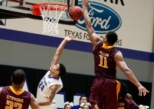Mike Hardge hits the game-winning layup with three seconds left Wednesday at Wisdom Gym. || Photo by NATHAN BURAL/Tarleton Athletics