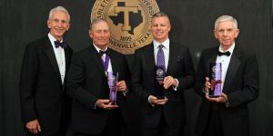 Tarleton State University President F. Dominic Dottavio (left) presented the 2016 Legacy Awards to three recipients Saturday evening, including (l-r) the Hon. Don Jones who accepted on behalf of honoree Mike A. Myers, Scott Summy and Fred Markham, representing the Texas Pioneer Foundation.