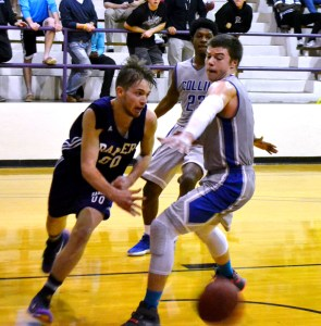 Ranger College's Chase Carlton makes a pass while dribbling along the baseline during the Rangers' 85-66 victory over Collin County on Wednesday in the Ron Butler Gym. With the win, 19th-ranked RC improved to 22-4 and to 9-0 in conference play. || Courtesy RANGER COLLEGE