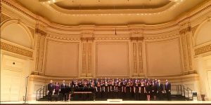 The Tarleton State University Chamber Choir on the Ronald O. Perelman Stage inside Carnegie Hall's Stern Auditorium just before their March 27 concert in New York City.