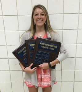 Bayleigh Chaviers earned the Honeybee Defense Award and led the team in rebounds and assists.