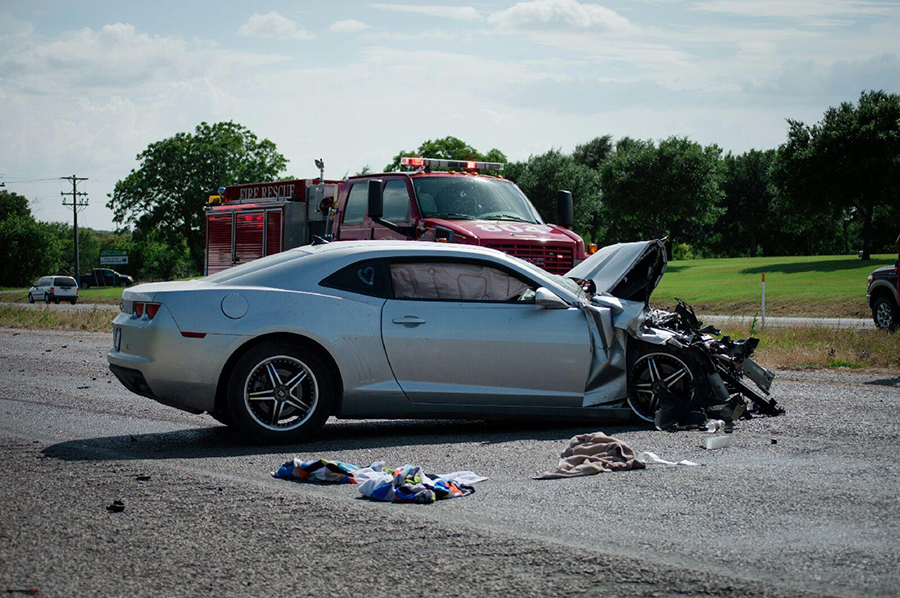This is the camaro driven by Ryan Gaitan when a Sunday afternoon wreck on US Highway 67 between Stephenville and Dublin very nearly took his life and that of his passenger and girl friend, Darcy Sones. || Photo by BROOKE MENDENHALL