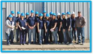 The Leadership Stephenville class posed outside the Tejas Tubular manufacturing facility, one of the many educational tour stops they enjoyed together throughout the program year.
