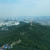 Birds eye view of Seoul from Namnsan tower.